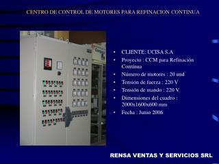 CENTRO DE CONTROL DE MOTORES PARA REFINACION CONTINUA
