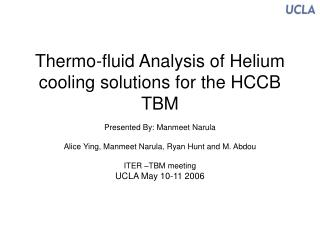 Thermo-fluid Analysis of Helium cooling solutions for the HCCB TBM