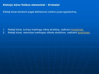 Kietojo kuno fizikos elementai - Kristalai