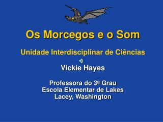 Os Morcegos e o Som  Unidade Interdisciplinar de Ci ncias  Vickie Hayes  Professora do 3o Grau Escola Elementar de Lakes