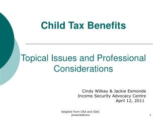 Child Tax Benefits   Topical Issues and Professional Considerations
