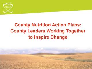 County Nutrition Action Plans:  County Leaders Working Together to Inspire Change
