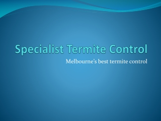 Specialist Termite Control - physical barriers