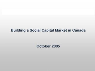 Building a Social Capital Market in Canada   October 2005