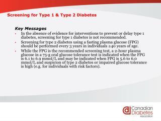 Screening for Type 1  Type 2 Diabetes