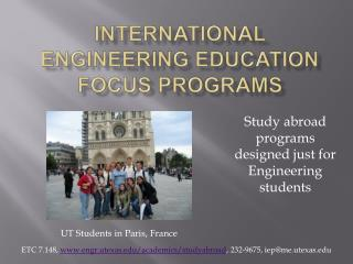 International Engineering Education Focus Programs