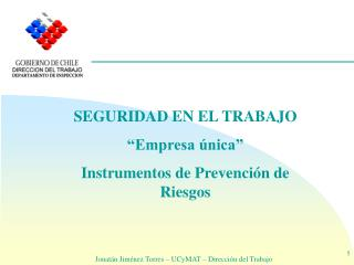 SEGURIDAD EN EL TRABAJO  Empresa  nica  Instrumentos de Prevenci n de Riesgos