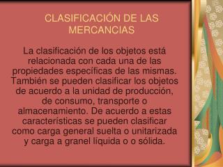 CLASIFICACI N DE LAS MERCANCIAS