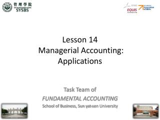 Lesson 14  Managerial Accounting: Applications