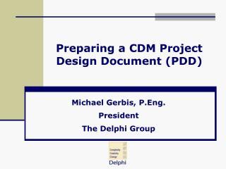 Preparing a CDM Project Design Document PDD