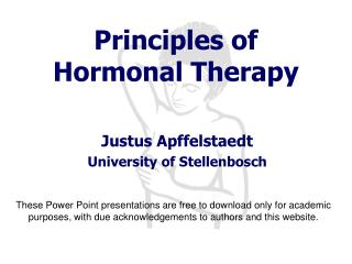 Principles of Hormonal Therapy