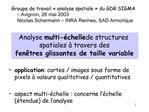 Analyse multi- chelle de structures spatiales   travers des  fen tres glissantes de taille variable