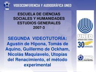 ESCUELA DE CIENCIAS SOCIALES Y HUMANIDADES ESTUDIOS GENERALES 2007-3