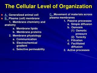 The Cellular Level of Organization