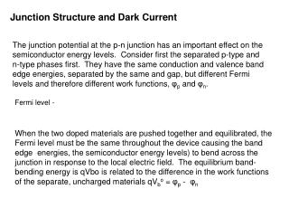 Junction Structure and Dark Current