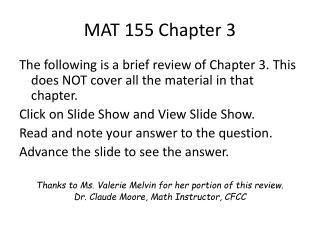 MAT 155 Chapter 3