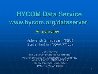 HYCOM Data Service  hycom