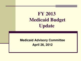FY 2013  Medicaid Budget Update