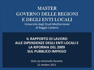 MASTER  GOVERNO DELLE REGIONI  E DEGLI ENTI LOCALI Universit  degli Studi Mediterranea  di Reggio Calabria