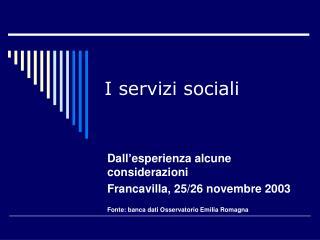 I servizi sociali