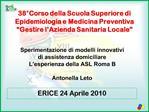 38 Corso della Scuola Superiore di Epidemiologia e Medicina Preventiva  Gestire l Azienda Sanitaria Locale