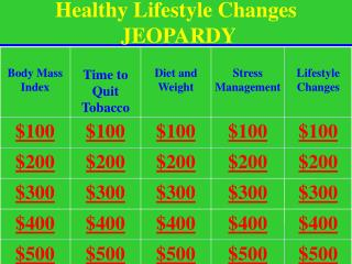 Healthy Lifestyle Changes  JEOPARDY