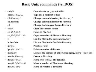 Basic Unix commands vs. DOS