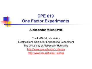 CPE 619 One Factor Experiments