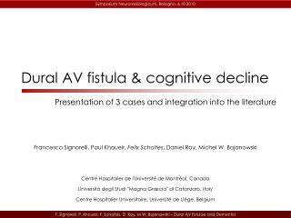 Dural AV fistula  cognitive decline
