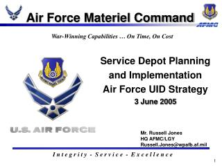 Service Depot Planning and Implementation  Air Force UID Strategy  3 June 2005