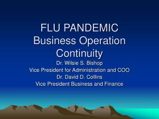 FLU PANDEMIC Business Operation Continuity
