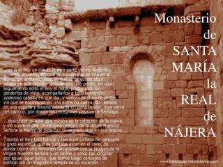 Monasterio de SANTA  MAR A  la  REAL de  N JERA