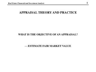 APPRAISAL THEORY AND PRACTICE