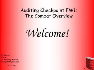 Auditing Checkpoint FW1:  The Combat Overview