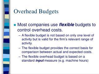 Overhead Budgets