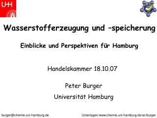 Wasserstofferzeugung und  speicherung  Einblicke und Perspektiven f r Hamburg