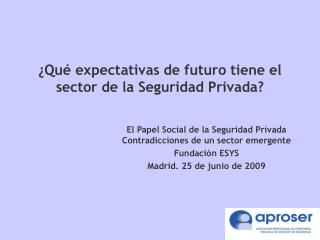 Qu  expectativas de futuro tiene el sector de la Seguridad Privada