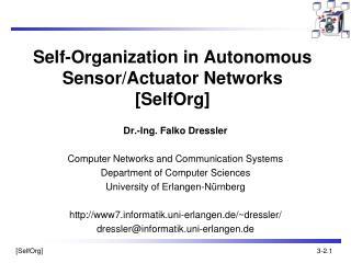 Self-Organization in Autonomous Sensor