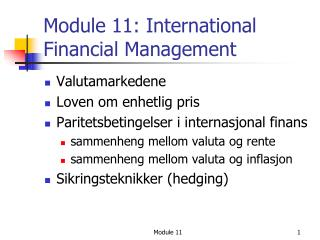Module 11: International Financial Management