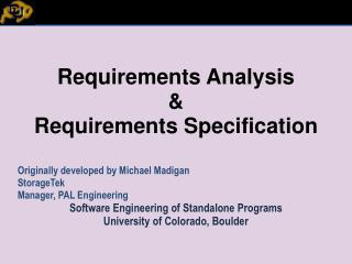 Requirements Analysis  Requirements Specification