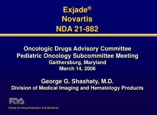 Exjade   Novartis  NDA 21-882