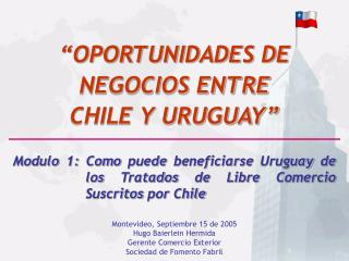 Montevideo, Septiembre 15 de 2005 Hugo Baierlein Hermida Gerente Comercio Exterior   Sociedad de Fomento Fabril