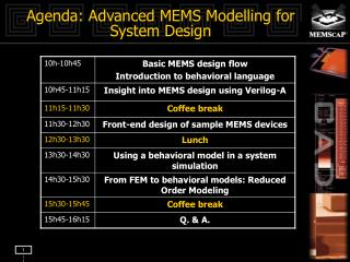 Agenda: Advanced MEMS Modelling for System Design
