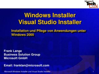Microsoft Windows Installer und Visual Studio Installer