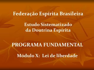 PROGRAMA FUNDAMENTAL  M dulo X:  Lei de liberdade