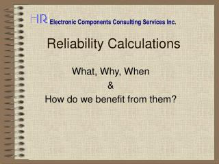 Reliability Calculations