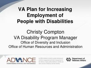 VA Plan for Increasing Employment of  People with Disabilities