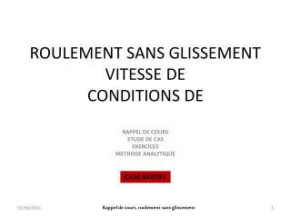ROULEMENT SANS GLISSEMENT VITESSE DE CONDITIONS DE