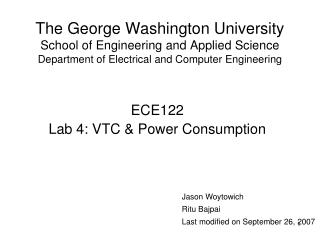 The George Washington University School of Engineering and Applied Science Department of Electrical and Computer Enginee
