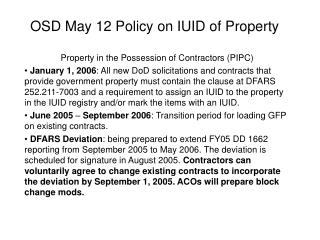 OSD May 12 Policy on IUID of Property